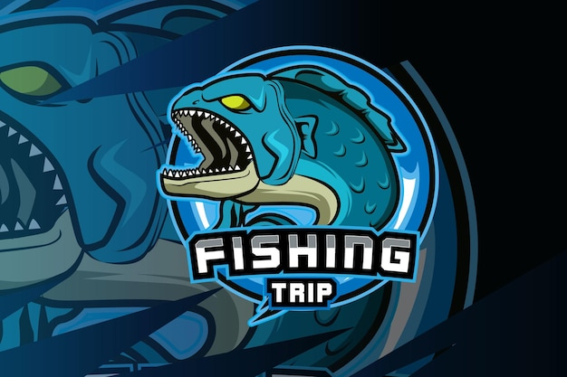 Fish mascot for sports and e sports logo isolated