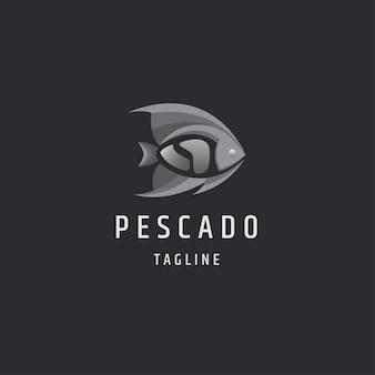 Рыба монохромный градиент плоский логотип значок дизайн шаблона иллюстрация