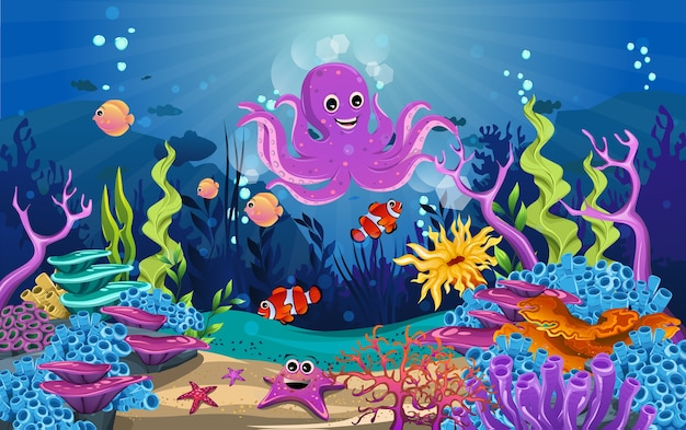 Fish and octopus funny