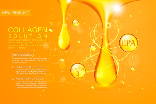 Fish oil ads template, omega-3 soft gel isolated on chrome yellow background.
