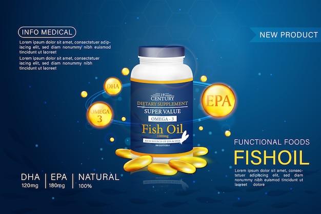 魚油広告テンプレート、パッケージ付きのオメガ3ソフトジェル。深海の背景..