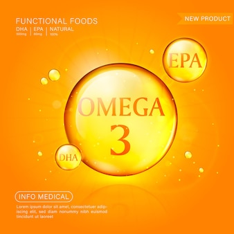 Fish oil ads template, softgel with its package. deep sea background.
