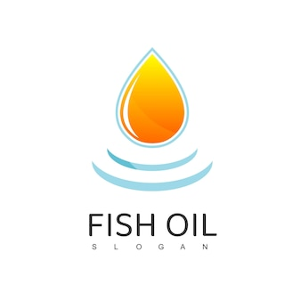 물방울 기호로 생선 기름 로고