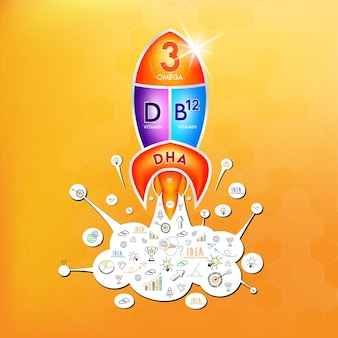 Fish oil omega 3 nutrients dha and vitamin d b12 design logo products for kids food