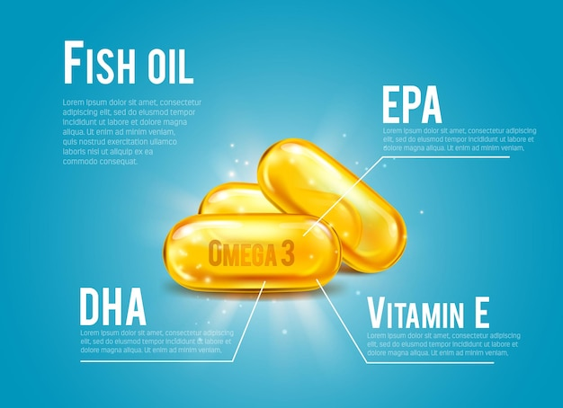 Fish oil pills content infographics with omega 3 fatty acids of dha and epa