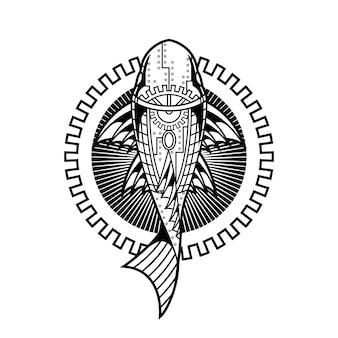 線形スタイルの魚飾りイラスト