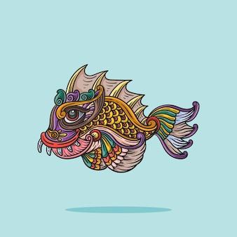 ラインスタイルの漫画のベクトル図の魚飾り