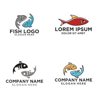 Fish outline monoline logo