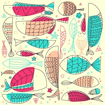 Fish pattern hand drawn doodle.