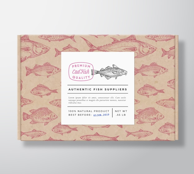 Fish pattern realistic cardboard box with banner