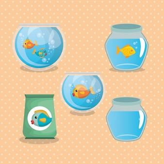 Домашнее животное рыбы в аквариуме