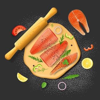 생선 파이 재료 반죽 붉은 연어 필레 레몬 토마토 조각 arugula와 로즈마리 채소 벡터 ...
