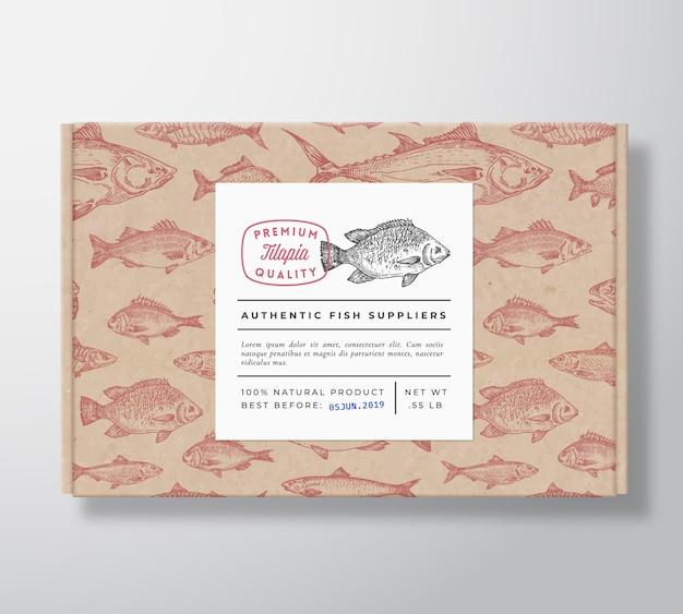 魚のリアルな段ボール箱包装モックアップ