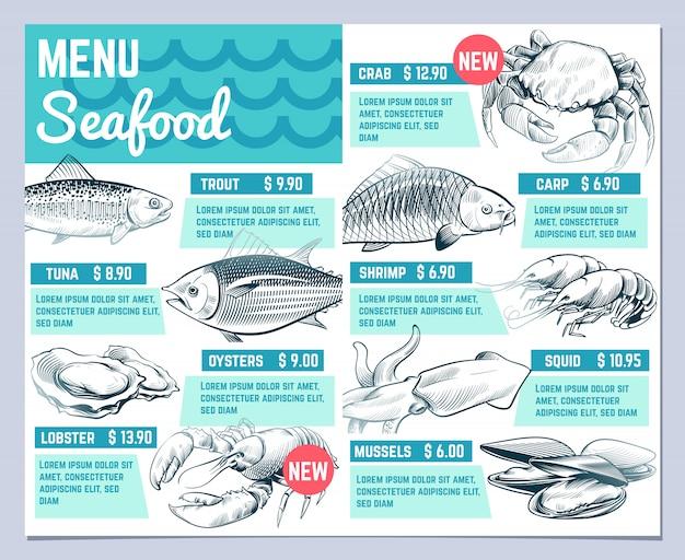 魚料理メニュー。手描きの魚のロブスターとカニのシーフードrestauranteビンテージデザインベクトルテンプレート