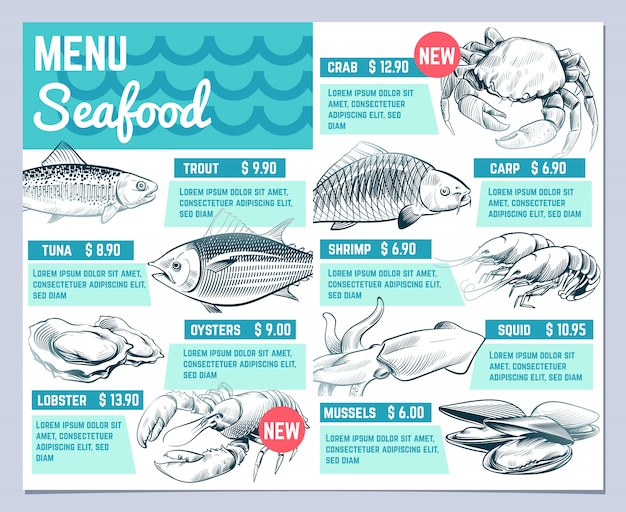 Fish restarant menu. hand drawn fishes lobster and crab seafood restaurante vintage design vector template