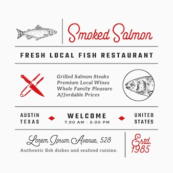 Fish restaurant signs, titles, inscriptions and menu decoration elements set.