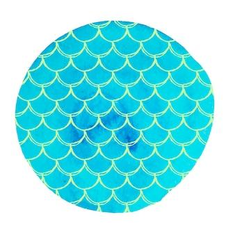Рыбья чешуя на акварельном фоне. яркие цвета. знамя хвоста русалки и приглашение. ручной обращается круглый фон с орнаментом из рыбьей чешуи. девушка под водой и морской узор. синий вектор.