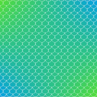 Fish scale on trendy gradient background. square backdrop with fish scale ornament. bright color transitions. mermaid tail banner and invitation. underwater and sea pattern. green and blue colors.