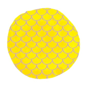 Fish scale on watercolor background. bright colors. mermaid tail banner and invitation. hand drawn round backdrop with fish scale ornament. girl underwater and sea pattern. yellow vector.