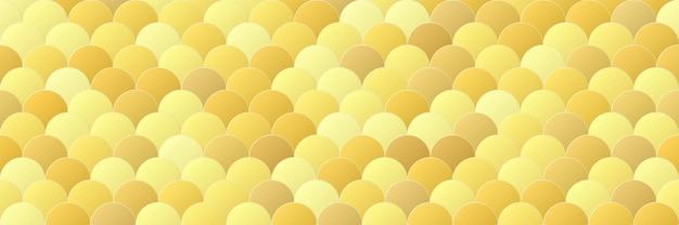 魚はシームレスなパターンの背景をスケーリングします。光沢のある黄色のグラデーションカラーシェイプ