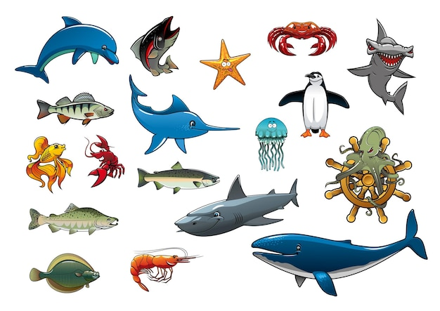 Fish and sea animals dolphin tuna star fish lobster crab and shrimp hammerhead shark marlin or swordfish jellyfish penguin trout and salmon flounder octopus on ship helm and whale