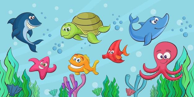 魚の海の生物の動物の水中水族館の風景漫画