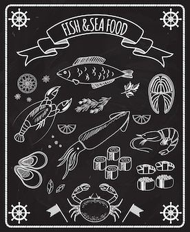 Fish and seafood blackboard vector elements with white line drawings of fish  ships wheels  calamari  lobster  crab  sushi  shrimp  prawn  mussel  salmon steak in a frame with a ribbon banner