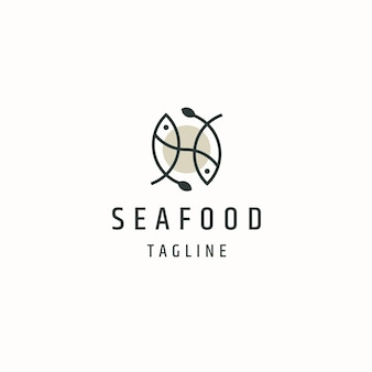 Fish seafood logo icon design template flat vector