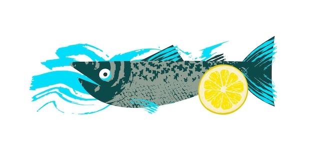 魚。シーフード。レモンスライスとサーモン。ユニークな手描きのテクスチャとベクトルイラスト。