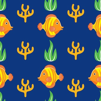 Fish seamless pattern in flat design style
