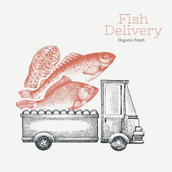 Fish shop delivery, hand drawn truck with fish illustration. engraved style vintage food design.