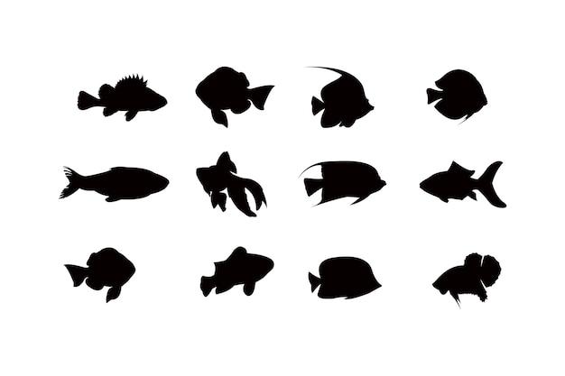 魚のシルエットアイコンセット