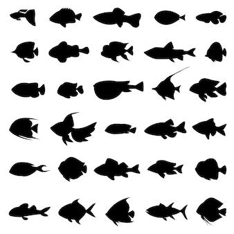 白地に黒の魚のシルエット。モノクロスタイルイラストの海洋動物のセット