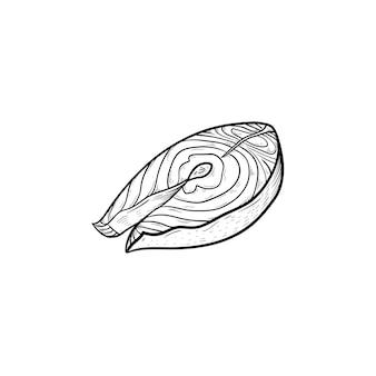 Рыбный стейк рисованной наброски каракули значок. жареный стейк вектор эскиз иллюстрации для печати, интернета, мобильных устройств и инфографики, изолированные на белом фоне. концепция здорового питания на гриле.