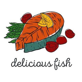 Стейк из рыбы с помидорами и спаржей. векторная иллюстрация