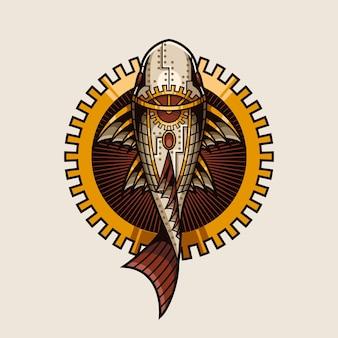 魚のスチームパンクなイラストとtシャツのデザイン