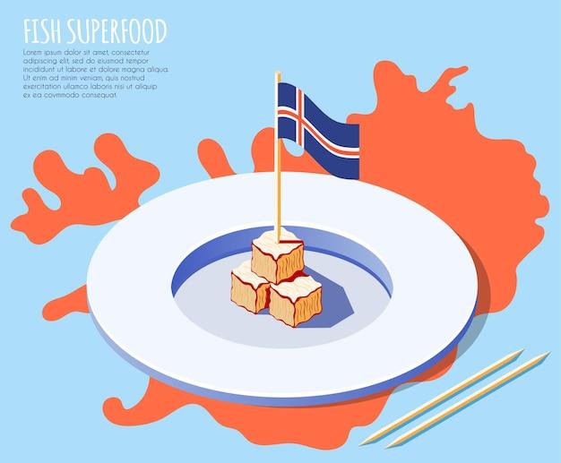 Sfondo isometrico di pesce superfood