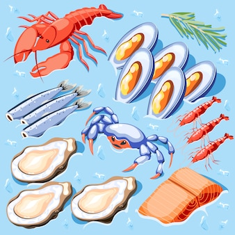 Fish superfood isometric illustration with mussels crawfish crabs shrimp oysters lobster