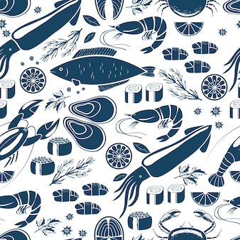 Рыбные суши и морепродукты бесшовные фон скороговоркой в синих и белых векторных иконах кальмаров, лобстеров, крабов, суши, креветок, креветок, мидий, стейка из лосося, лимона и трав для печати или текстиля