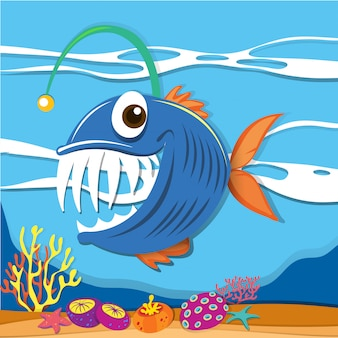 Рыба, плавающая под морем