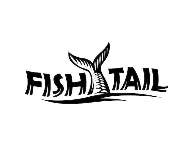 Fish tail logo with engraved style. vector illustration