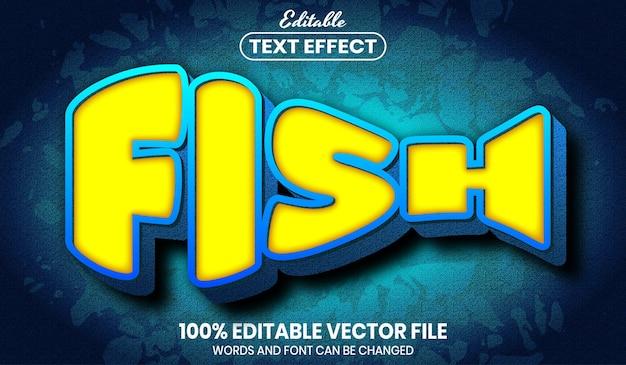 Текст рыбы, редактируемый текстовый эффект стиля шрифта