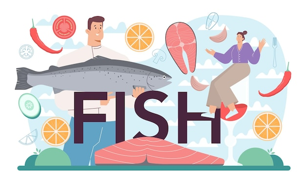 Fish typographic header. chef cooking grilled salmon steak on the plate with lemon. tasty fish fillet for dinner or lunch. delicious meal. flat vector illustration