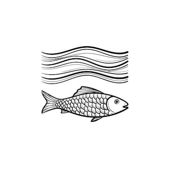 Рыба под морской волной рисованной наброски каракули значок. рыбка в воде вектор эскиз иллюстрации для печати, интернета, мобильных устройств и инфографики, изолированные на белом фоне.