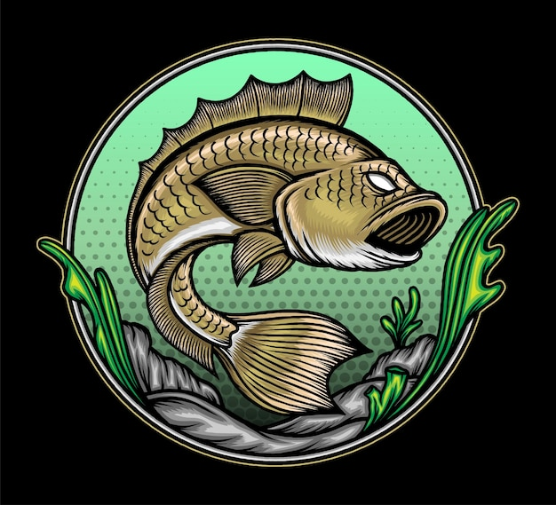 Подводная иллюстрация рыбы. премиум векторы