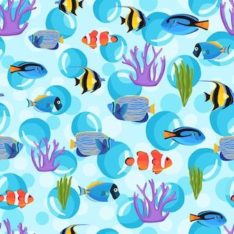 거품이 있는 수중 물고기. 아이 배경. 해저 완벽 한 패턴입니다. 섬유 직물 또는 책 표지, 월페이퍼, 디자인, 그래픽 아트, 포장용 물고기 패턴
