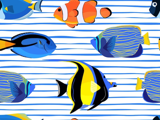Fish underwater with bubbles seamless pattern on stripes background. pattern of fish for textile fabric or book covers, wallpapers, design, graphic art, wrapping