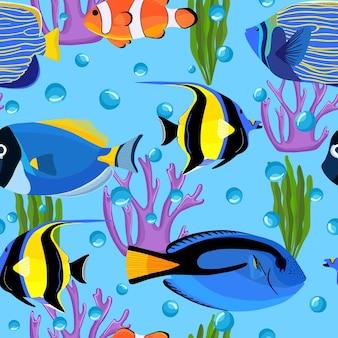 거품이 있는 수중 물고기. 해저 완벽 한 패턴입니다. 아이 배경. 섬유 직물 또는 책 표지, 월페이퍼, 디자인, 그래픽 아트, 포장용 물고기 패턴