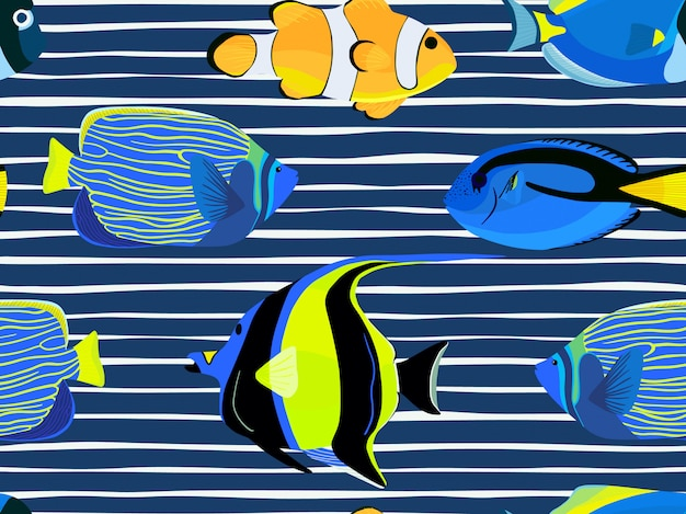 Fish underwater with stripes pattern