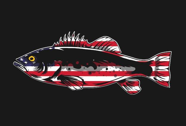 黒のアウトラインとアメリカの国旗のビンテージスタイルの魚のベクトル図